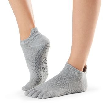 ToeSox Low Rise Full Toe Heather Grey