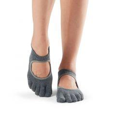 ToeSox Bellarina Full Toe Charcoal Grey w/lime