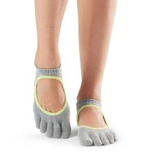 ToeSox Bellarina Full Toe Heather Grey with Lime Trim