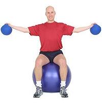 SISSEL® Gymnastikball: Seitliches Heben von Hanteln mit Rotation