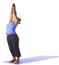 Yoga: Berg mit angehobenen Armen