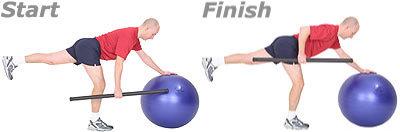 SISSEL® Heavy Bar auf SISSEL® Gymnastikball: Einbeiniges- und einarmiges Rudern