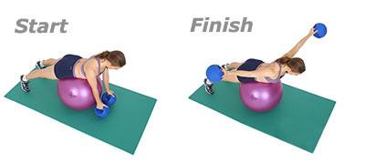 SISSEL® Gymnastikball: Flachliegendes Fliegen mit Hanteln