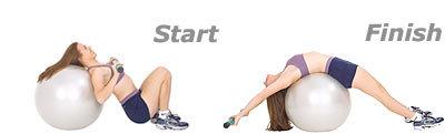 SISSEL® Heavy Bar auf SISSEL® Gymnastikball: Dehnung der Bauchmuskulatur