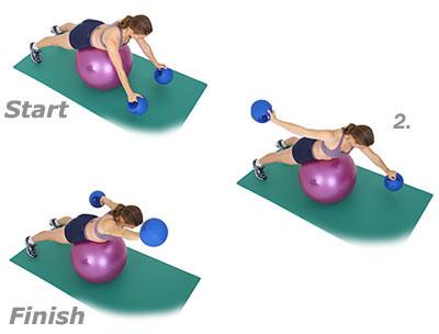 SISSEL® Gymnastikball: Kraulen mit Hanteln