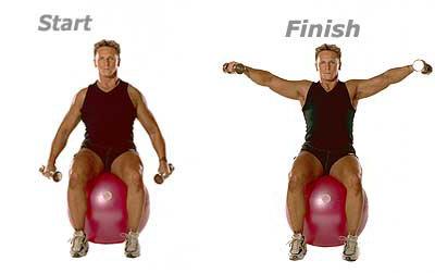 SISSEL® Gymnastikball: Seitliches Hantelheben