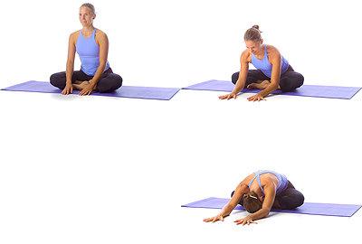 Yoga: Vorwärtsbeuge in gehockter, angewinkelter (Beine) Sitzposition